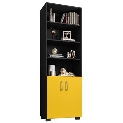 Estante Livreiro 2 Portas Pequenas 6 Prateleiras Office Preto/Amarelo - Móveis Leão