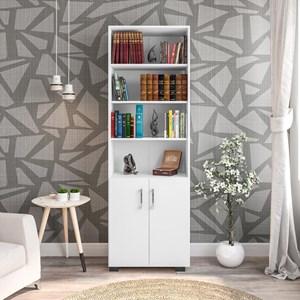 Estante Livreiro Portas Pequenas 6 Prateleiras Office Branco White – Móveis Leão