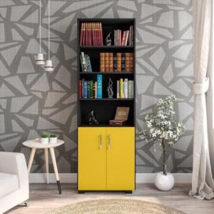 Estante Livreiro Portas Pequenas 6 Prateleiras Office Preto/Amarelo – Móveis Leão