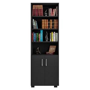Estante Livreiro Portas Pequenas 6 Prateleiras Office Preto Black – Móveis Leão
