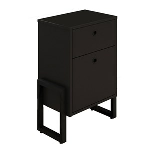 Gaveteiro Home Office 2 gavetas Estilo Industrial New Port F02 Preto - Mpozenato