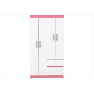 Guarda Roupa 04 Portas e 02 Gavetas Lotus Branco/Rosa - Demóbile