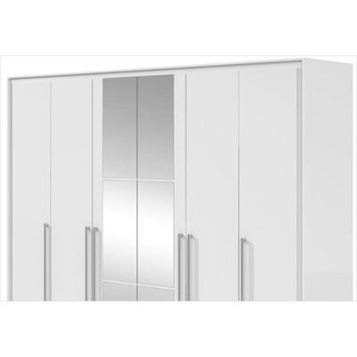 Guarda Roupa 06 Portas e 06 Gavetas com Espelho e Pés Reali Branco - Móveis LP
