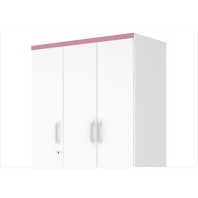 Guarda Roupa Açaí 3 Portas de Abrir Branco/Rosa Chá - Henn