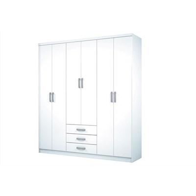 Guarda Roupa Caju 6 Portas de Abrir Branco - Henn