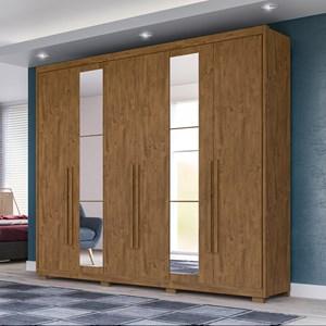 Guarda Roupa Casal 06 Portas e Espelho Barcelona Castanho Wood - Moval