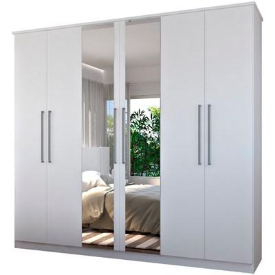 Guarda Roupa Casal 249cm 6 Portas 2 Espelhos Winter F04 Branco - Mpozenato