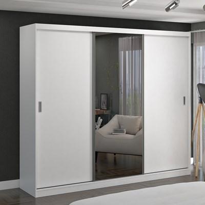 Guarda Roupa Casal 264cm 3 Portas de Correr 1 Espelho Winter F04 Branco - Mpozenato