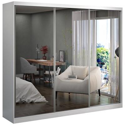 Guarda Roupa Casal 264cm 3 Portas de Correr 3 Espelhos Winter F04 Branco - Mpozenato