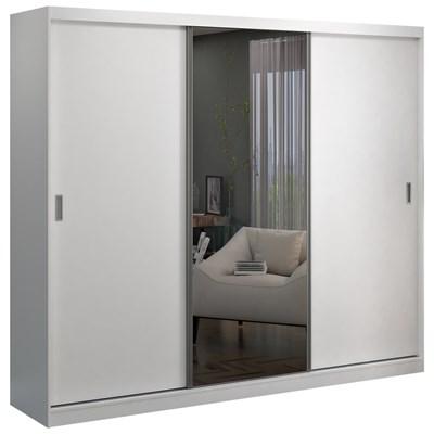 Guarda Roupa Casal 3 Portas de Correr 1 Espelho Winter F04 Branco - Mpozenato