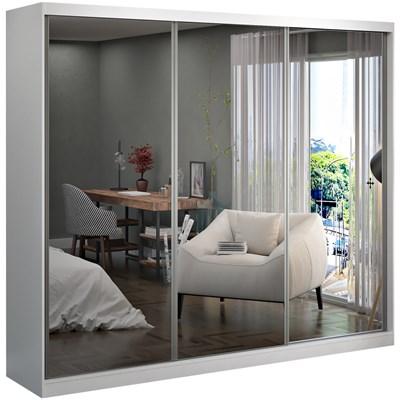 Guarda Roupa Casal 3 Portas de Correr com Espelho Winter F04 Branco - Mpozenato