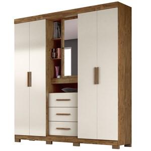 Guarda Roupa Casal 4 Portas e Espelho Eldorado Castanho Wood/Baunilha - Moval