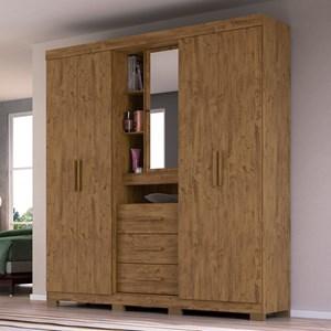 Guarda Roupa Casal 4 Portas e Espelho Eldorado Castanho Wood - Moval