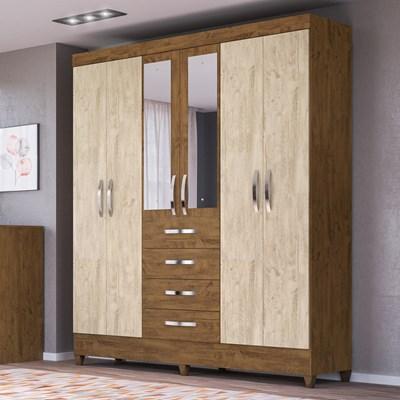 Guarda Roupa Casal Avaí 6 Portas e Espelho Castanho/Avelã Wood - Moval