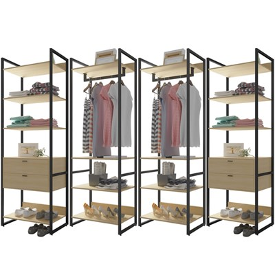 Guarda Roupa Casal Closet 4 Módulos 4 Gavetas Indy F02 Nature Texturizado - Mpozenato