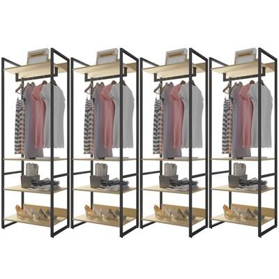 Guarda Roupa Casal Closet 4 Módulos Indy F02 Nature Texturizado - Mpozenato