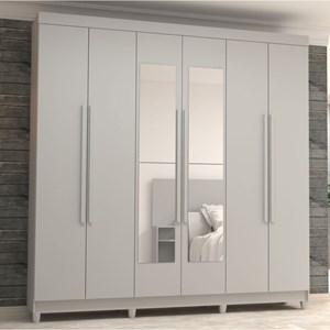 Guarda Roupa Casal Elegance 6 Portas e Espelho Branco - VLR Móveis