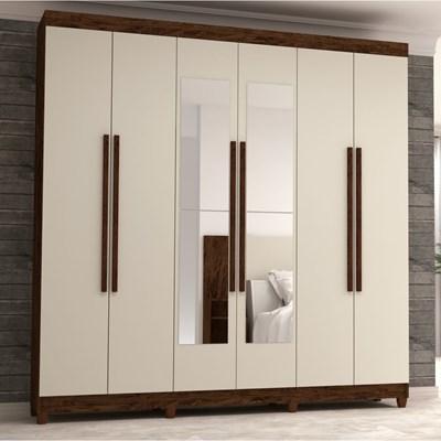 Guarda Roupa Casal Elegance 6 Portas e Espelho Imbuia Champanhe - VLR Móveis