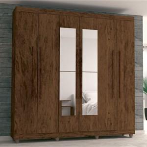 Guarda Roupa Casal Elegance 6 Portas e Espelho Imbuia/Rústico - VLR Móveis