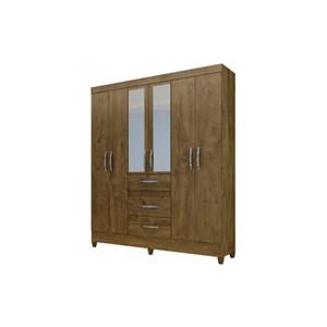 Guarda Roupa Casal Itatiba 6 Portas Castanho Wood - Moval