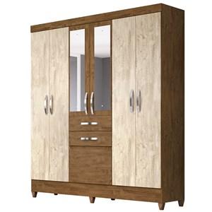 Guarda Roupa Casal Mafra 6 Portas e Espelho Castanho/Avelã Wood - Moval