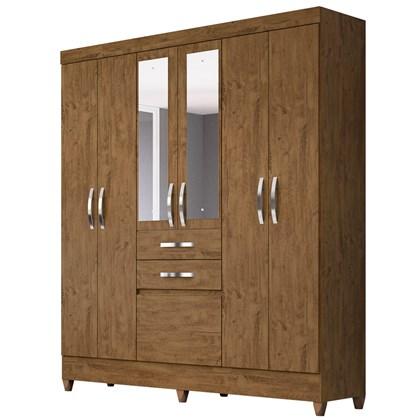 Guarda Roupa Casal Mafra 6 Portas e Espelho Castanho Wood - Moval