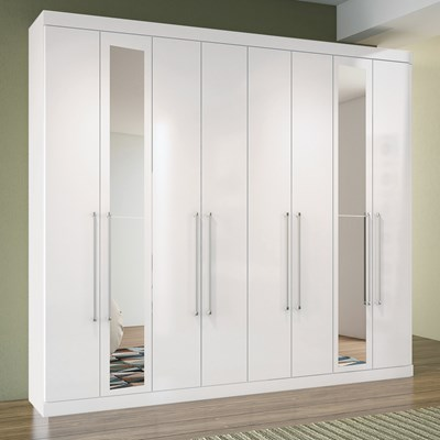 Guarda Roupa Casal Master 8.4 8 Portas e Espelho Branco - Santos Andirá