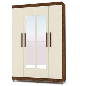 Guarda Roupa Casal Palmas 4 Portas e Espelho Imbuia/Champanhe - VLR Móveis