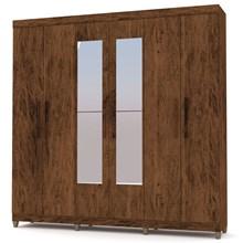 Guarda Roupa Casal Palmas 6 Portas e Espelho Imbuia/Rústico - VLR Móveis