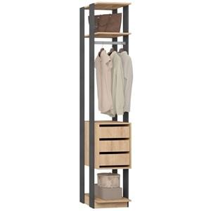 Guarda Roupa Closet Clothes 1003 3 Gavetas Carvalho/Espresso - BE Mobiliário