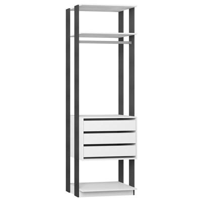 Guarda Roupa Closet Clothes 1004 3 Gavetas Branco/Espresso - BE Mobiliário