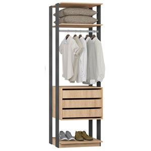 Guarda Roupa Closet Clothes 1004 3 Gavetas Carvalho/Espresso - BE Mobiliário