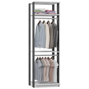 Guarda Roupa Closet Clothes 1005 3 Prateleiras Branco/Espresso - BE Mobiliário