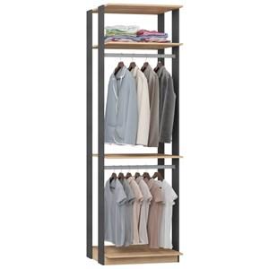 Guarda Roupa Closet Clothes 1005 3 Prateleiras Carvalho/Espresso - BE Mobiliário