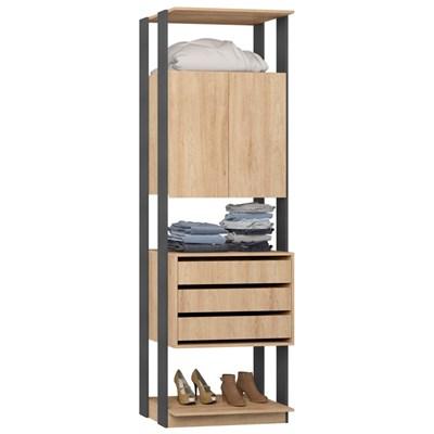 Guarda Roupa Closet Clothes 1006 2 Portas Carvalho/Espresso - BE Mobiliário