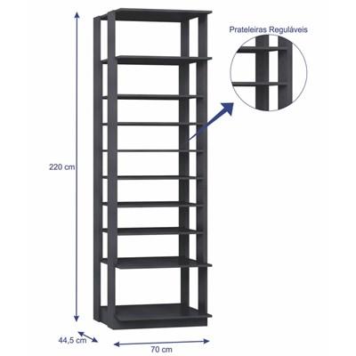 Guarda Roupa Closet Clothes 1009 9 Prateleiras Espresso - BE Mobiliário