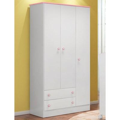 Guarda Roupa Infantil Doce Sonho 3 Portas Branco/Rosa - Qmovi