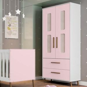 Guarda Roupa Infantil Retrô Bibi 2 Portas Branco/Rosa - Móveis Estrela