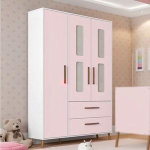 Guarda Roupa Infantil Retrô Bibi 3 Portas Branco/Rosa - Móveis Estrela