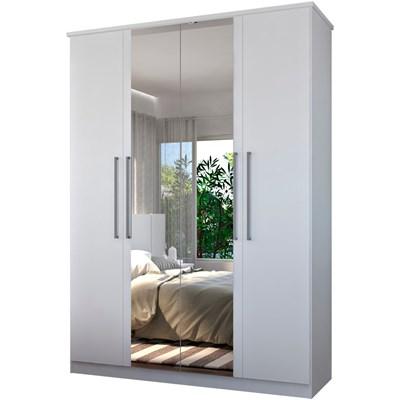 Guarda Roupa Solteiro 166cm 4 Portas 2 Espelhos Winter F04 Branco - Mpozenato