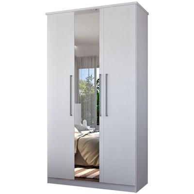 Guarda Roupa Solteiro 3 Portas 1 Espelho Single F04 Branco - Mpozenato