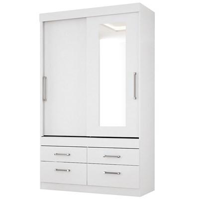 Guarda Roupa Solteiro Click 2 Portas de Correr e Espelho Branco - Santos Andirá