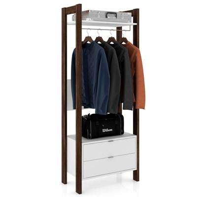Guarda Roupa Solteiro Closet AZ1011 Branco/Nogal - Tecno Mobili