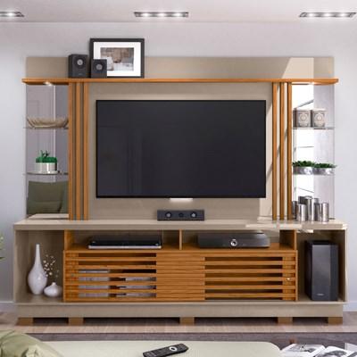 Home Theater 2 Portas Com Pés Para TV Até 55 Pol. Frizz Gold Fendi/Naturale - Madetec