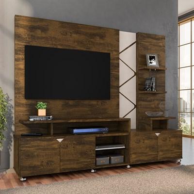 Home Theater Para TV Até 55 Pol. Com LED Cross Canela/Off White - Lukaliam Móveis