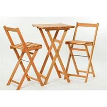 Jogo de Mesa com 2 Banquetas Dobráveis Bistrô Alto Jatobá - Mão & Formão