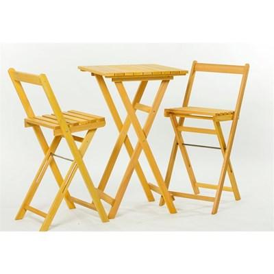 Jogo de Mesa com 2 Banquetas Dobráveis Bistrô Alto Stain Amarelo - Mão & Formão