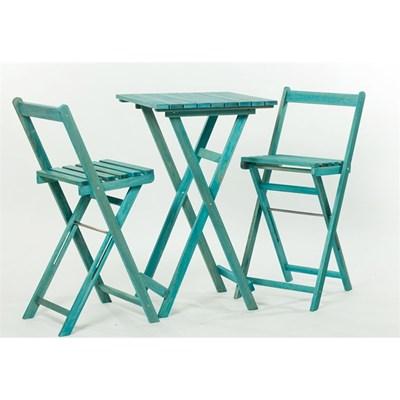 Jogo de Mesa com 2 Banquetas Dobráveis Bistrô Alto Stain Azul - Mão & Formão