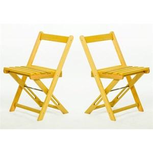 Jogo de Mesa com 2 Cadeiras Dobráveis Boteco Stain Amarelo - Mão & Formão
