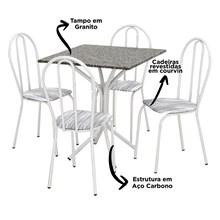 Jogo de Mesa e 04 Cadeiras Thais com Tampo em Madeira/MDF Branca/Assento Linho - Artefamol